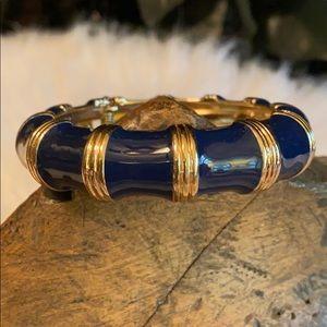 J. Crew Navy Goldtone Hinged Bangle Bracelet